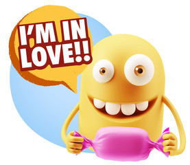 3d Rendering. Candy Gift Emoticon Face saying I'm in Love with C