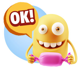 3d Rendering. Candy Gift Emoticon Face saying Ok with Colorful S
