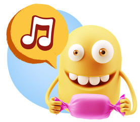 3d Rendering. Candy Gift Emoticon Face saying Music Symbol with