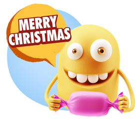 3d Rendering. Candy Gift Emoticon Face saying Merry Christmas wi