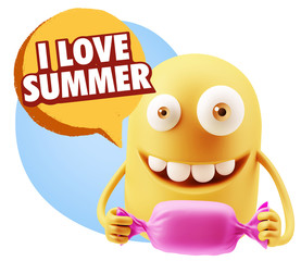 3d Rendering. Candy Gift Emoticon Face saying I Love Summer with