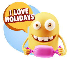 3d Rendering. Candy Gift Emoticon Face saying I Love Holidays wi