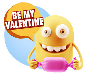 3d Rendering. Candy Gift Emoticon Face saying Be My Valentine wi