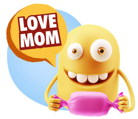 3d Rendering. Candy Gift Emoticon Face saying Love Mom with Colo