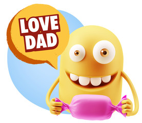 3d Rendering. Candy Gift Emoticon Face saying Love Dad with Colo