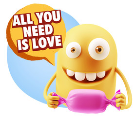 3d Rendering. Candy Gift Emoticon Face saying All You Need Is Lo