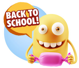 3d Rendering. Candy Gift Emoticon Face saying Back To School wit