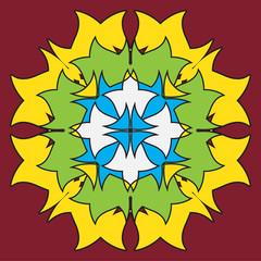 colored symmetrical mandala - flower shape