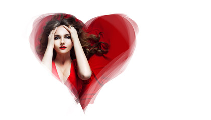 Beautiful and sexy young woman portrait in heart symbol. Place for text on the right