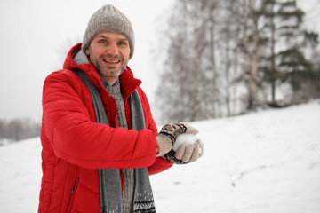 Man with snowball