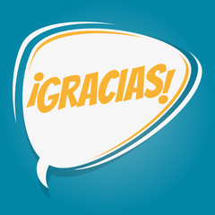 spanish retro speech bubble that means thank you