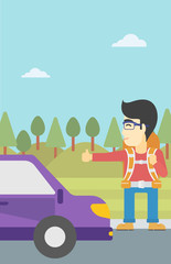 Young man hitchhiking vector illustration.