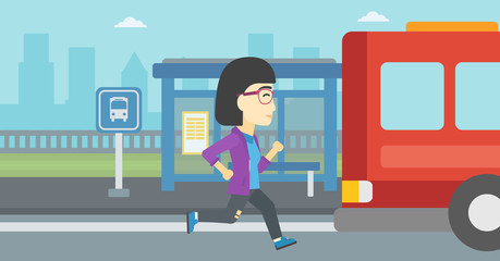Latecomer woman running for the bus.