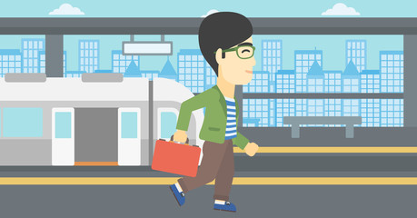 Man at the train station vector illustration.