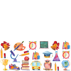 Watercolor icons School and education