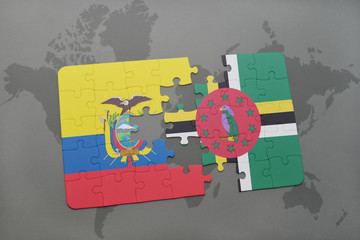 puzzle with the national flag of ecuador and dominica on a world map background.