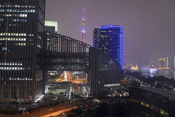 Oriential Pearl Tower in Pudong District is a television tower, Shanghai, China, night time view