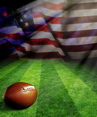 American football on green field and American flag background with sunlight