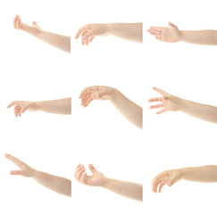 Child's hands gesturing, isolated on white