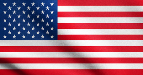 American flag waving in wind with fabric texture