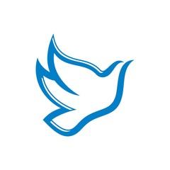 Bird flying logo. dove icon abstract. pigeon vector design template.