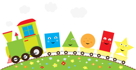 Cartoon educational train with basic shapes on white background/ vector illustration for children