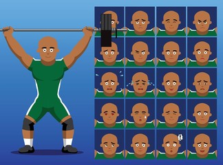 Brazilian Weightlifter Cartoon Emotion Faces Vector Illustration