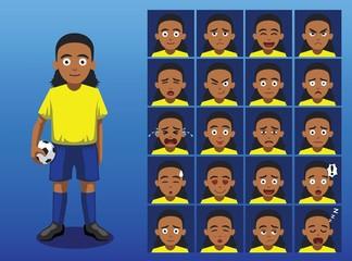Brazilian Soccer Player Cartoon Emotion Faces Vector Illustration