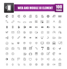 Set of 100 icon for web and mobile smart phone ui element vector