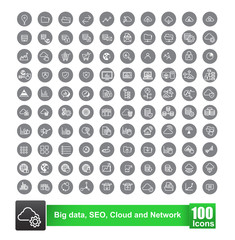 Set of 100 icon with background big data seo cloud and network v