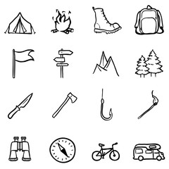 Vector Set of Black Doodle Hiking and Camping icons