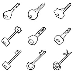 Vector Set of Black Doodle Keys Icons.