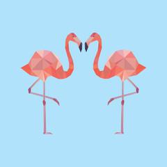 Decorative element with two polygonal flamingo.