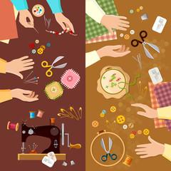 Tailor banner seamstress fashion designer needlework