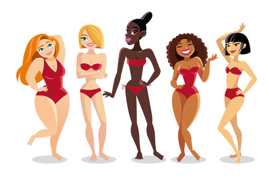 Beautiful young women in bikini of a different nationality. The girls of Latin America, Africa, Asia and Europe.