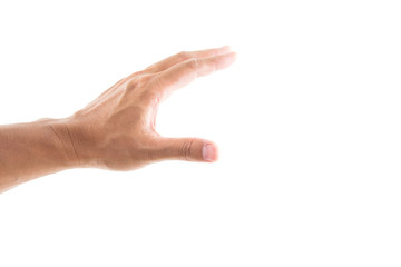 Hand grabbing on white background