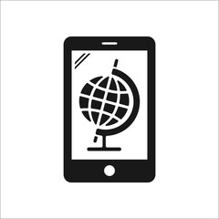 Mobile phone with globe symbol simple icon on background