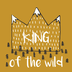 Vector illustration with crown,mountains peaks end forest