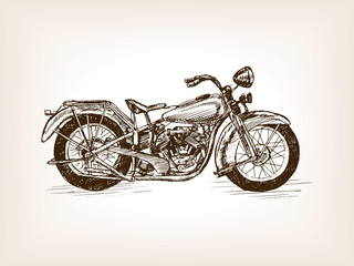Retro motorcycle hand drawn sketch vector