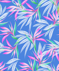 watercolor bird of paradise tropical seamless pattern.