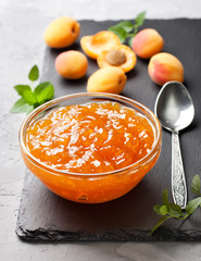 apricot jam in a glass bowl