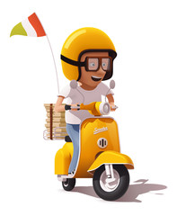 Vector realistic retro pizza delivery scooter and pizza courier driver icon