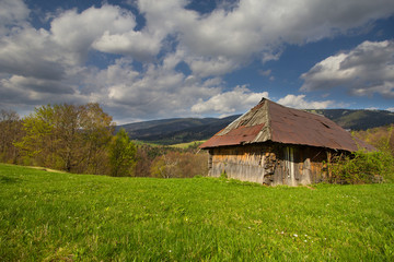 Household with an old wooden barn in the Carpathian mountains