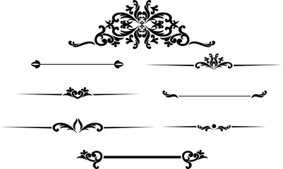 Set of black hand drawn vintage frames for text decoration in ve