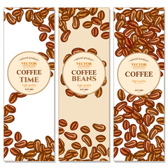 Coffee beans banner background ink hand drawn vector