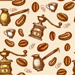 Coffee seamless pattern hand drawn ink retro vintage vector