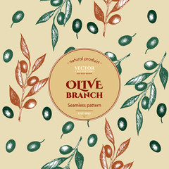 Olive branch seamless pattern ink hand drawn vector