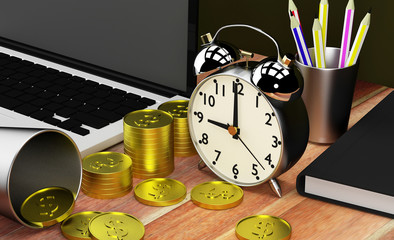 clock time concept 3D rendering