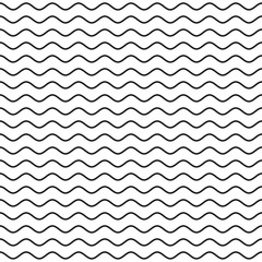 Black Wavy Line Seamless Pattern