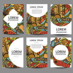 Vector abstract brochures Recreation. Tourism and camping in doodle style.Design templates vintage frames  backgrounds.